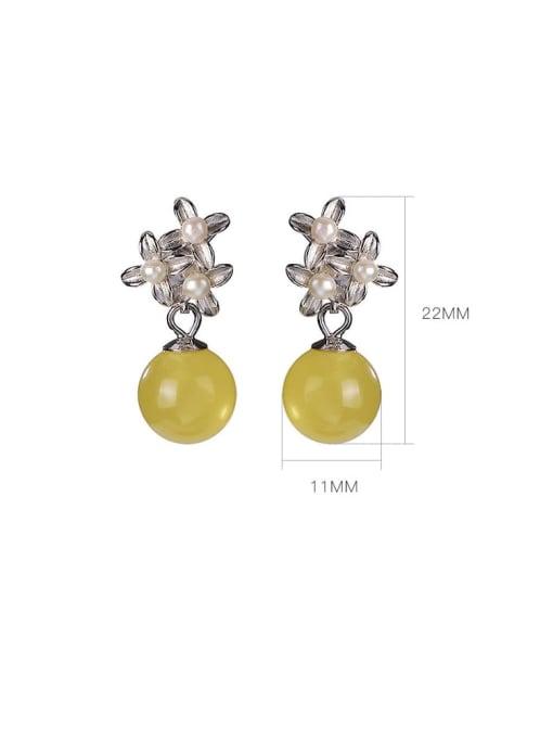 DEER 925 Sterling Silver Opal Flower Vintage Drop Earring 3