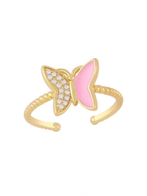 Pink Brass Enamel Rhinestone Butterfly Minimalist Band Ring