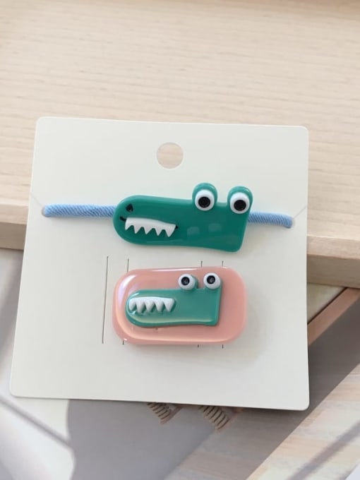 20 little crocodile Alloy Acrylic Cute Children cartoon animal fruit Hairpin Rubber band Set