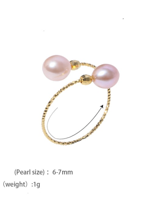 Mixed color ring Brass Freshwater Pearl Irregular Minimalist Band Ring