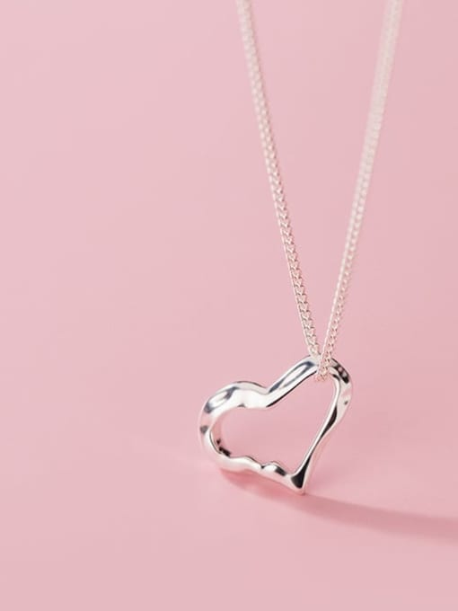 Rosh 925 Sterling Silver Hollow Heart Minimalist Necklace 1