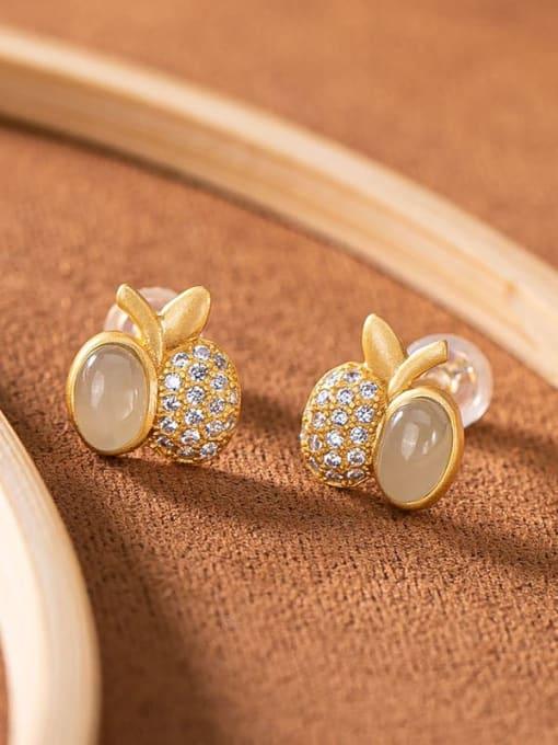 DEER 925 Sterling Silver Jade Friut  Apple Vintage Stud Earring 3