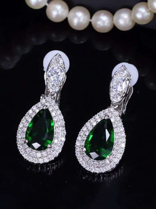 green Brass Cubic Zirconia Water Drop Luxury Drop Earring