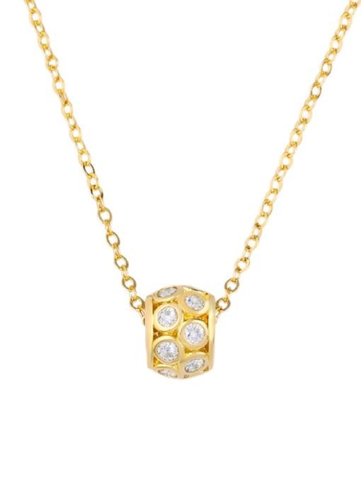 golden Brass Cubic Zirconia Locket Dainty Necklace