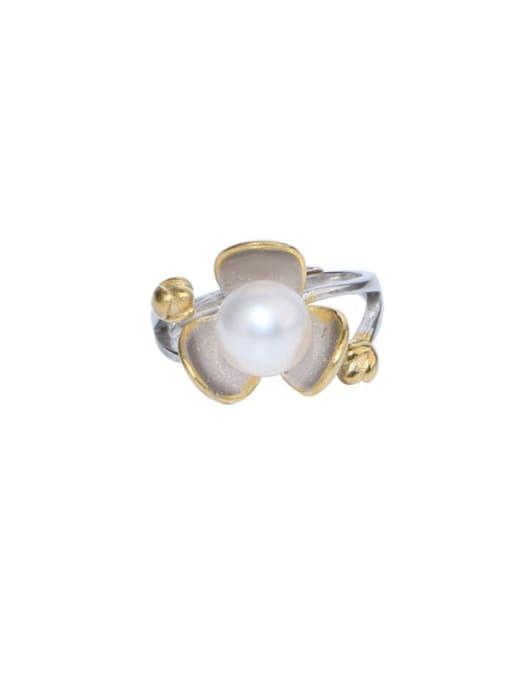 RAIN Brass Freshwater Pearl Flower Vintage Band Ring