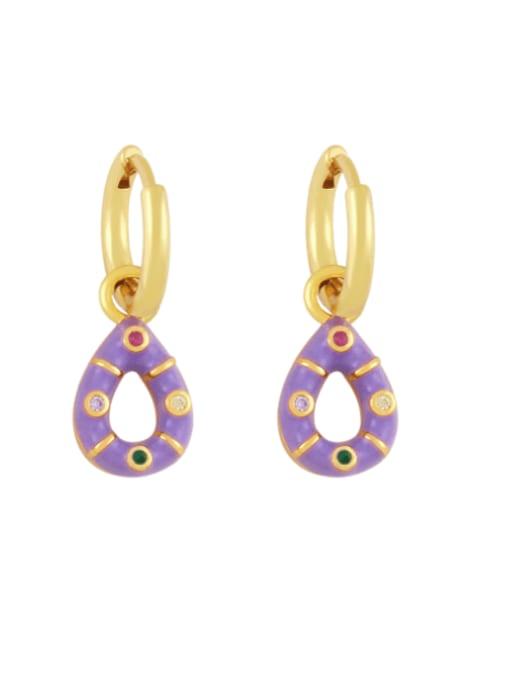 purple Brass Rhinestone Enamel Water Drop Vintage Huggie Earring