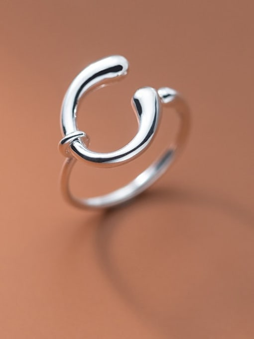 Rosh 925 Sterling Silver Hollow Geometry  Minimalist Band Ring