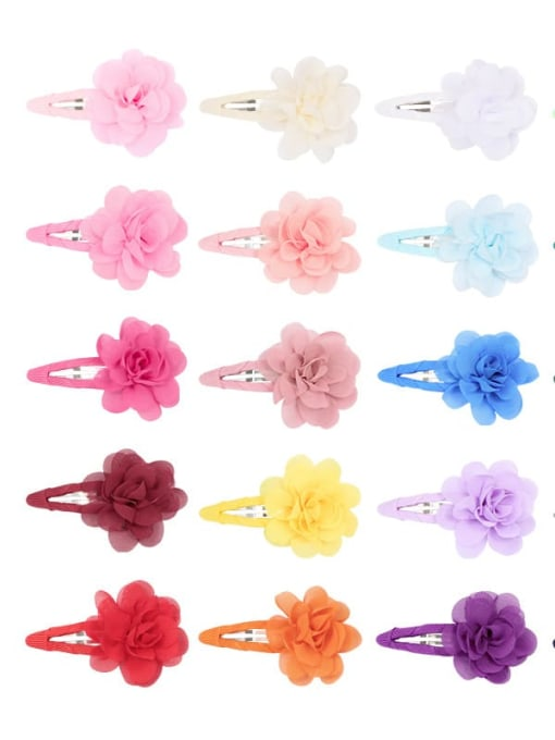 YOKI KIDS Alloy Yarn Minimalist Flower  Multi Color Hair Barrette 3