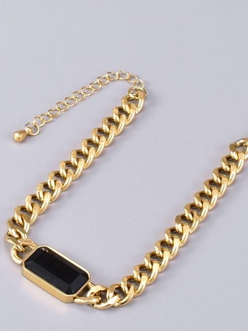 A TEEM Titanium Steel Glass Stone Geometric Vintage Bracelet