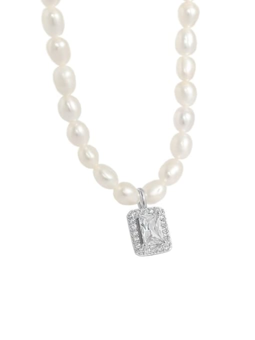 Platinum 925 Sterling Silver Freshwater Pearl Geometric Minimalist Necklace