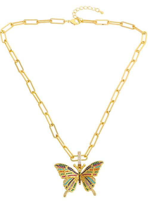 CC Brass Cubic Zirconia Butterfly Ethnic Necklace 2
