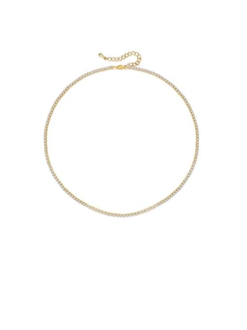 BLING SU Brass Cubic Zirconia Geometric Minimalist Necklace