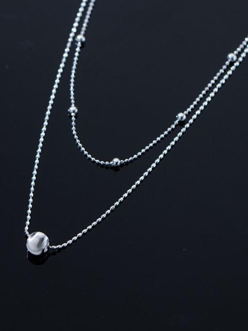 Rosh 925 Sterling Silver Bead Round Minimalist Multi Strand Necklace 3