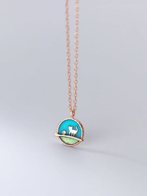 Rosh 925 Sterling Silver Enamel Round Minimalist Necklace 2