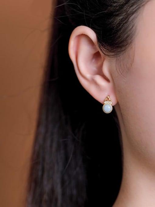DEER 925 Sterling Silver Jade Crown Cute Stud Earring 1