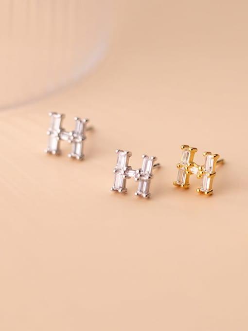 Rosh 925 Sterling Silver Cubic Zirconia Letter Minimalist Stud Earring 1