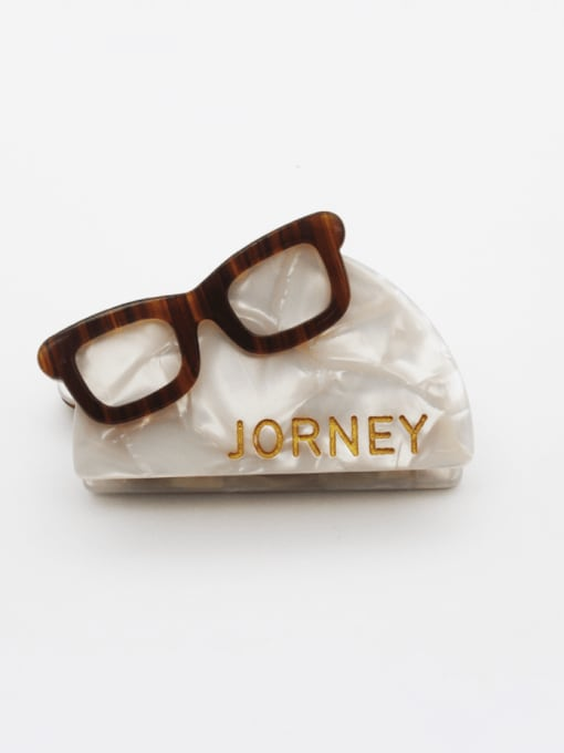 Rice white Cellulose Acetate Vintage Geometric Zinc Alloy Jaw Hair Claw