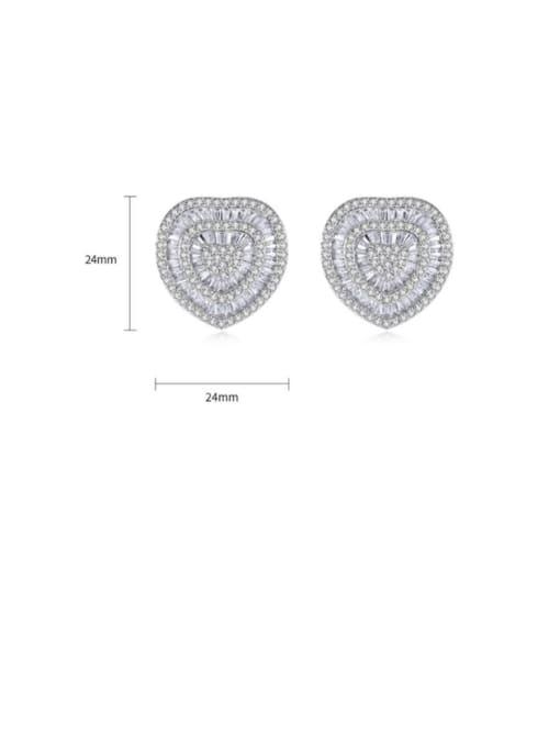 BLING SU Brass Cubic Zirconia Heart Luxury Stud Earring 2