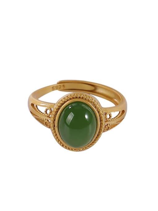 DEER 925 Sterling Silver Jade Oval Vintage Band Ring