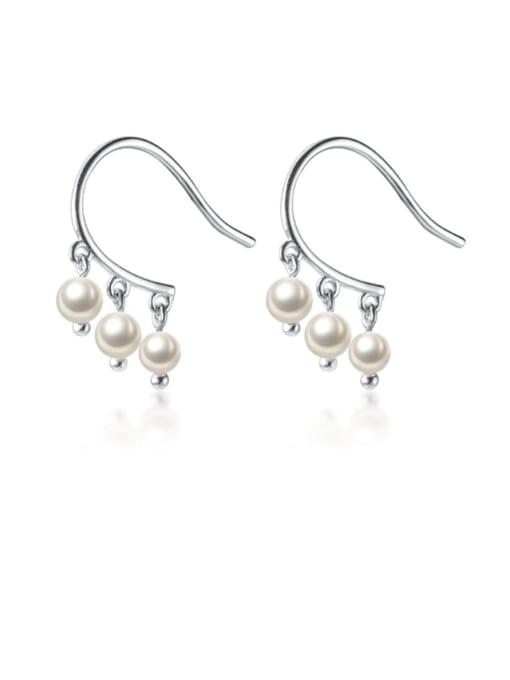 Rosh 925 Sterling Silver Imitation Pearl  Round Ball Minimalist Hook Earring