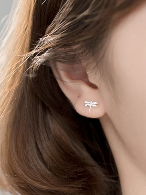 Rosh 925 Sterling Silver Rhinestone Dragonfly Cute Stud Earring 1