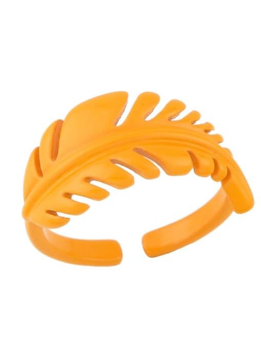 orange Brass Enamel Tree  Leaf Vintage Band Ring