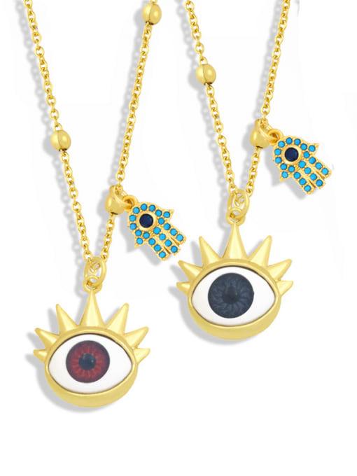 CC Brass Enamel Evil Eye Vintage Palm Pendant Necklace