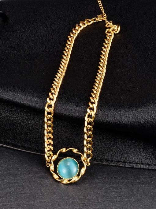 A TEEM Titanium Steel Cats Eye Heart Minimalist Necklace 2