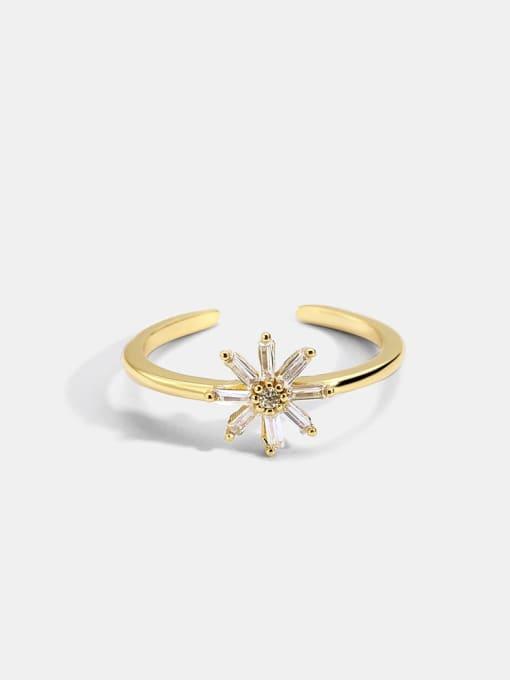 CHARME Brass Cubic Zirconia Flower Minimalist Band Ring 0