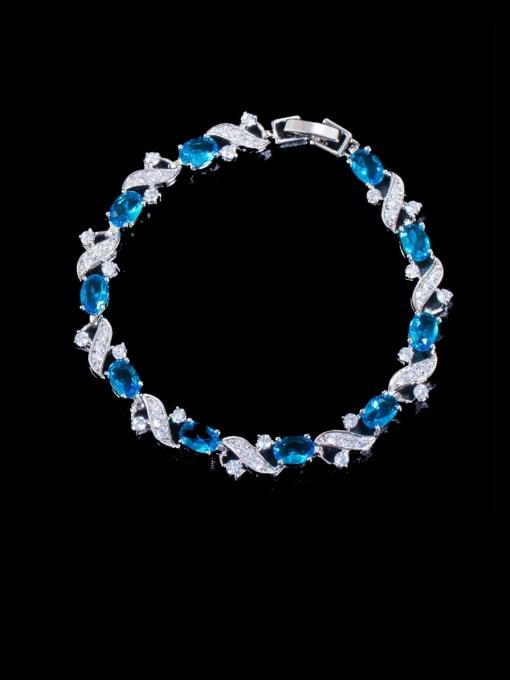 Sea blue Brass Cubic Zirconia Flower Luxury Bracelet
