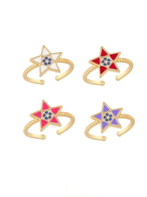 CC Brass Enamel Star Minimalist Band Ring 0