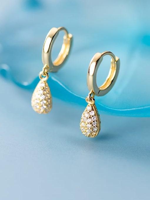 Rosh 925 Sterling Silver Cubic Zirconia Water Drop Minimalist Huggie Earring