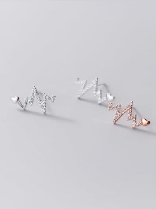 Rosh 925 Sterling Silver Rhinestone Heart Dainty Stud Earring 0