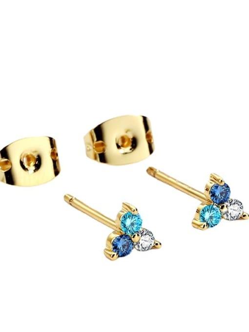 CHARME Brass Cubic Zirconia Flower Minimalist Stud Earring 4
