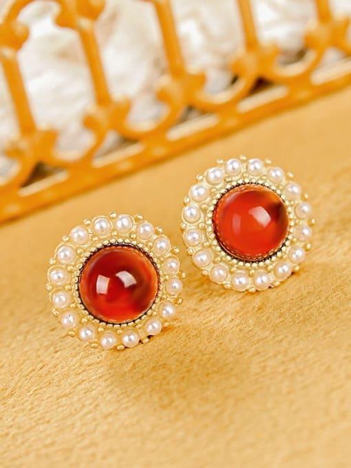 DEER 925 Sterling Silver Garnet Flower Cute Stud Earring