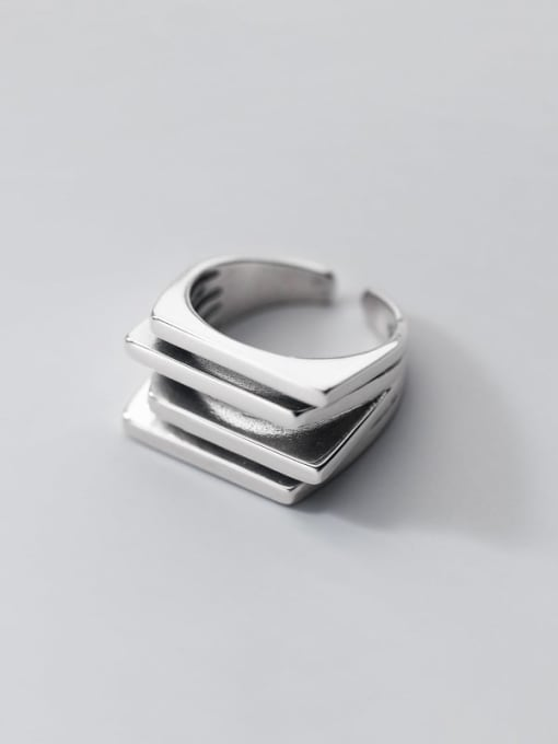 Rosh 925 Sterling Silver Geometric Minimalist Stackable Ring 3