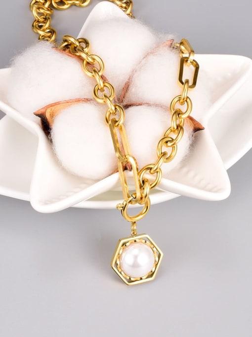 A TEEM Titanium Steel Imitation Pearl Hexagon Vintage Necklace 2