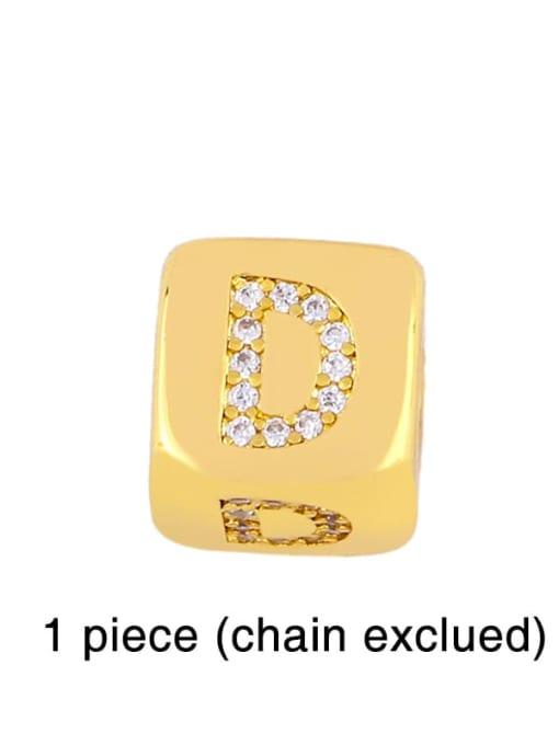 D Brass Cubic Zirconia square Letter Minimalist Adjustable Bracelet