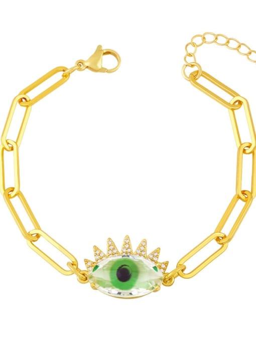 Light green Brass Enamel Evil Eye Vintage Link Bracelet
