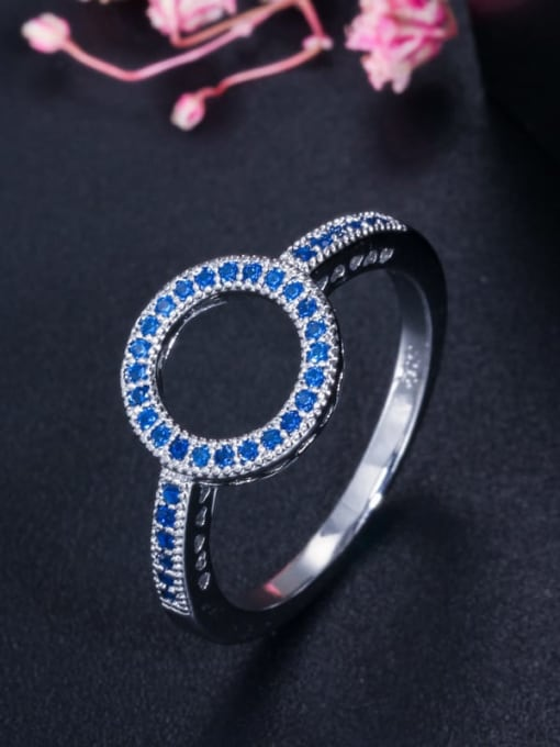 Size 6 Blue single ring Brass Cubic Zirconia Luxury Round  Earring and Necklace Set