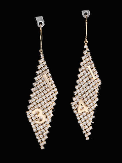 Luxu Brass Cubic Zirconia Geometric Minimalist Hook Earring