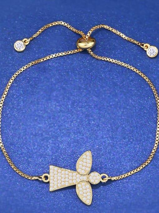 CC Brass Cubic Zirconia Angel Minimalist Link Bracelet 2