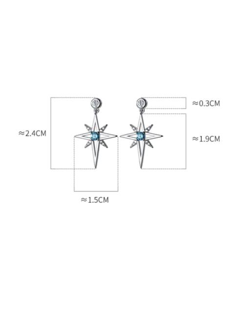 Rosh 925 Sterling Silver Cubic Zirconia Star Minimalist Drop Earring 4