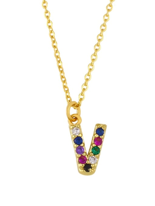 V Brass Cubic Zirconia Letter Vintage Necklace