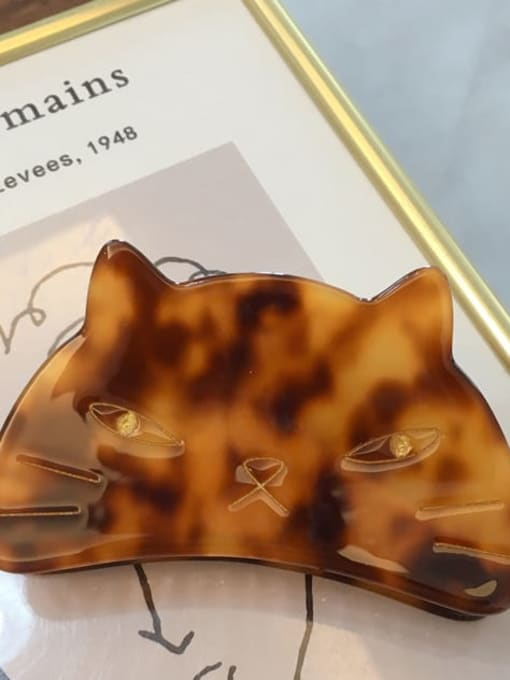 A071 Brown Alloy Cellulose Acetate Acrylic Cat Hair Scratch Hairpin Medium Jaw Hair Claw