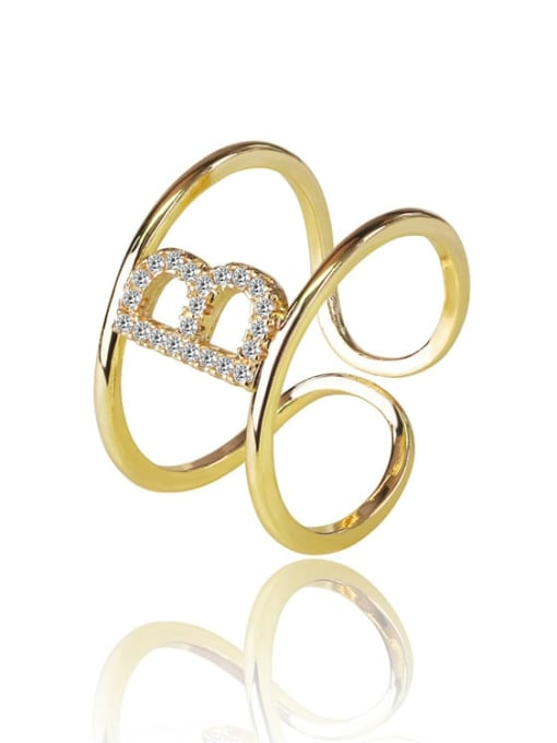 DUDU Brass Cubic Zirconia Letter Minimalist Stackable Ring 0