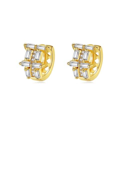 BLING SU Brass Cubic Zirconia Geometric Dainty Huggie Earring