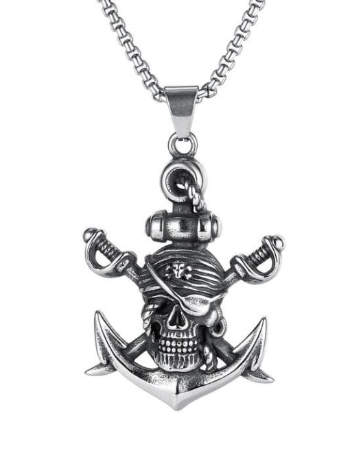 Open Sky Titanium Steel Anchor Hip Hop Necklace 0