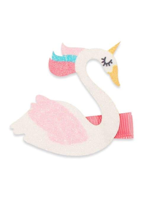 1 White Swan Alloy Fabric Cute Icon Multi Color Hair Barrette