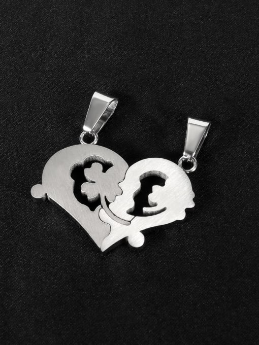 Open Sky Titanium Steel Heart Hip Hop Necklace 2